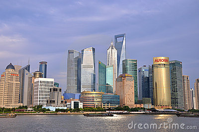 Business buildings in Shanghai Pu-dong, China Editorial Image
