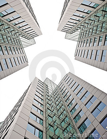 Business buildings on white