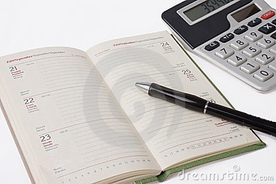 Business calculator and diary with pen