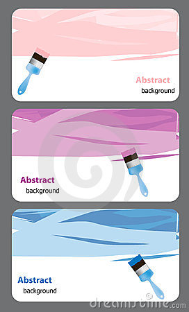Business card with Blue paint brush and paint.