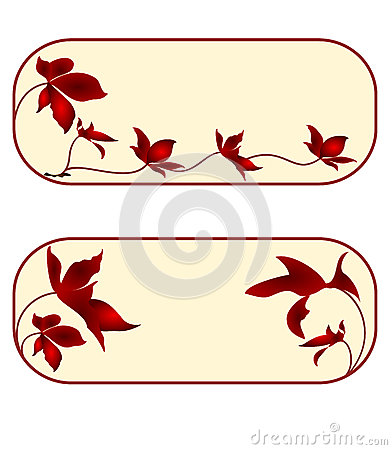 Business card, floral, rectangle, second set