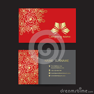 Free Business Card - Gold Border Line Bouquet Of Floral  And Company Logo On Red Background Vector Design Royalty Free Stock Photos - 88028858