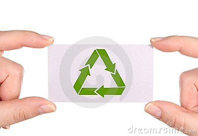Business card with green  recycle icon