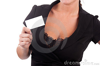 Business card in the hands of a girl