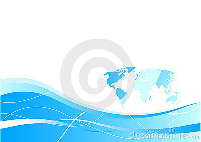 Business card template - global concept in blue