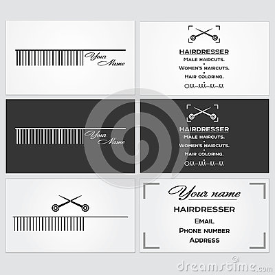 Business Card Template For A Hairdresser. Stock Vector - Image ...