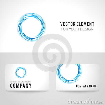 Business card template set abstract blue circle stock for Circle business card template