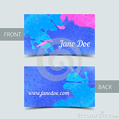 business card template for watrcolor illustrator stock vector image 47487626. Black Bedroom Furniture Sets. Home Design Ideas