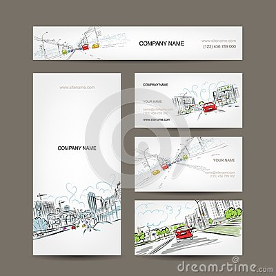 Business cards collection, cars on city road for