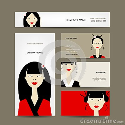 Business cards design with asian girls