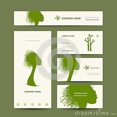 Business cards design, organic hair care concept