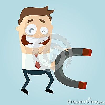 Business cartoon man with big magnet