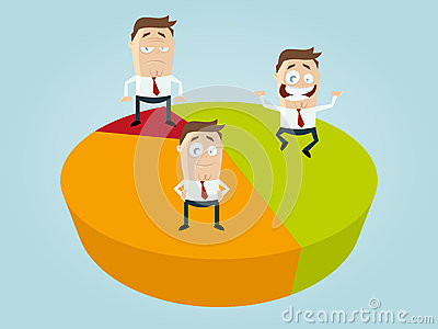 Business cartoon men on diagram