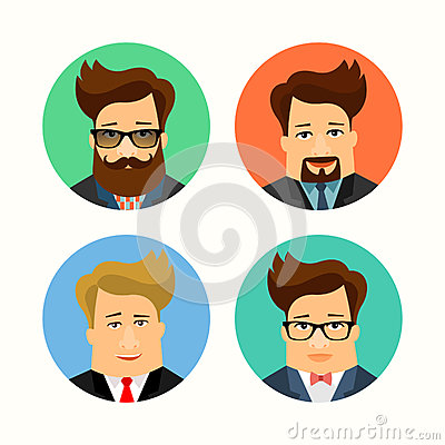 Business and casual male handsome cartoon characters. Flat avatars