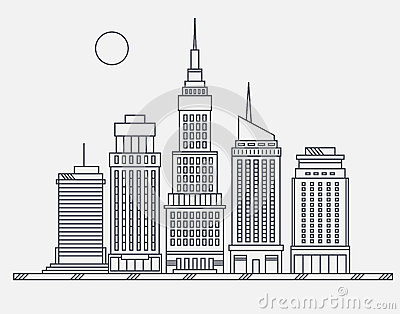 Simple Skyscraper Drawing Simple Line Drawing Building Big City Stock