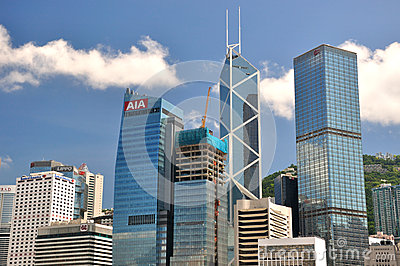 Business center buildings in Hongkong Editorial Stock Photo