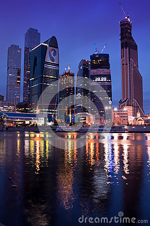 Business center Moscow city at night. Editorial Image