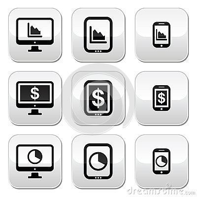 Business, chart on computer, tablet, smartphone  buttons set