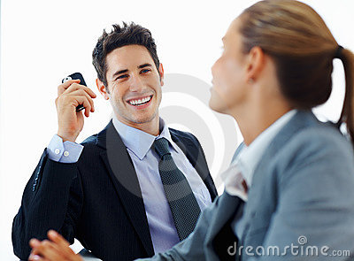 Business colleague having friendly conversation