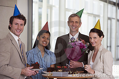 Business colleagues at office party