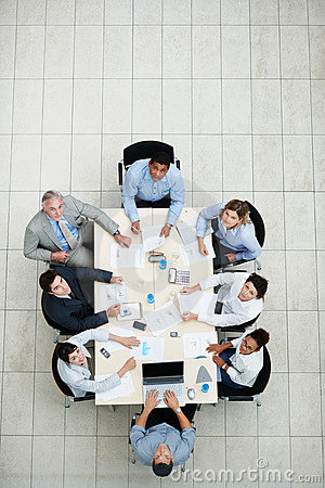 Business colleagues sitting together for meeting