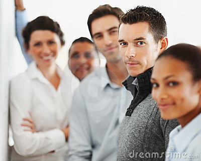 Business colleagues standing together in a line