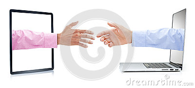 Business Computer Marketing Handshake