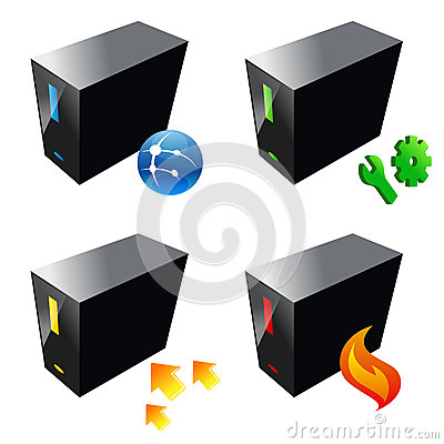 Business computer server icon, vector