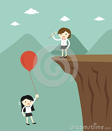 Free Business Concept, Business Woman Use The Arrow To Pop Another Business Woman`s Balloon. Royalty Free Stock Photos - 100374778