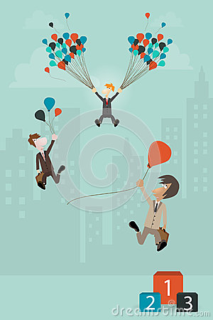 Business concept Businessman holding balloon