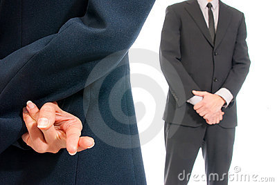 Business concept fingers crossed boss isolated