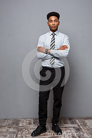 Free Business Concept - Full Length Portrait Of Confident African American Businessman In The Office. Stock Photo - 110475830