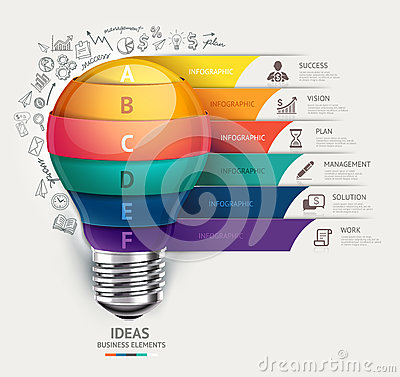 Free Business Concept Infographic Template. Lightbulb And Doodles Icons Set. Can Be Used For Workflow Layout, Banner, Diagram, Web Stock Photo - 41060530