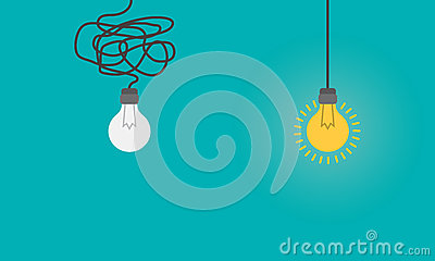 Business concept with lightbulbs as symbol of idea, creativity, think concept. Stock Photo