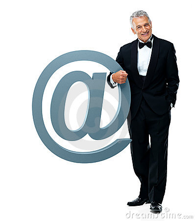 Business concept - Male executive with email sign