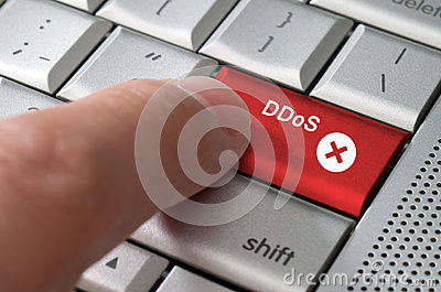 Business concept male finger pointing DDoS  key