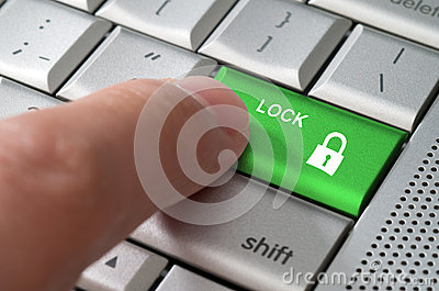 Business concept male finger pointing lock key
