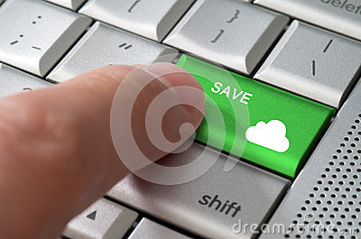 Business concept male finger pointing save to cloud  key