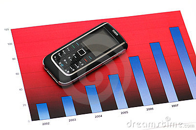 Business concept with mobile phone over the bar chart