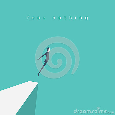 Free Business Concept Of Courage. Businessman Jumping Off A Cliff As Sign Brave Leadership And Step Forward. Stock Photo - 83813540