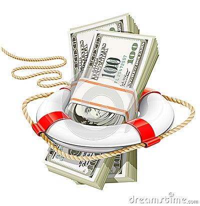 Business concept - rescue money in crisis