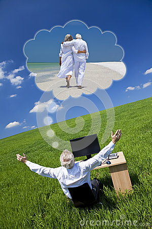 Businessman Dreaming Vacation Retirement Desk Gree