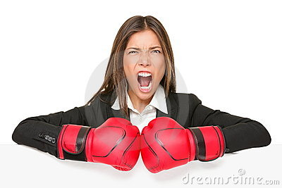 Business concept sign - boxing woman