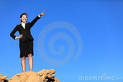 Business concept - woman pointing at future