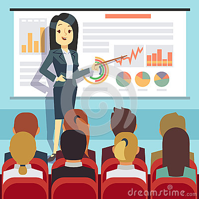 Business conference, seminar with speaker in front of audience. Motivation vector concept Vector Illustration