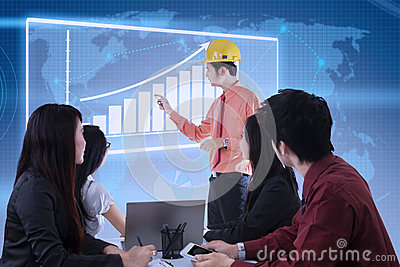 Business contractor success presentation on blue digital