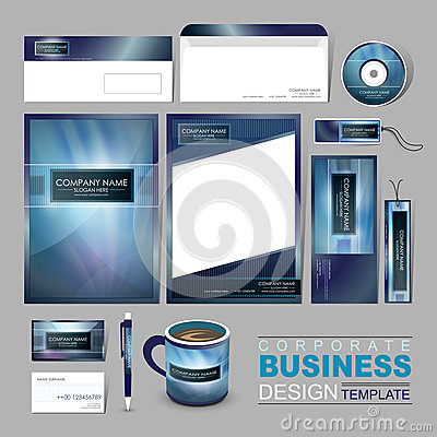 Free Business Corporate Identity Template With Abstract Blue Backgrou Stock Images - 42191204