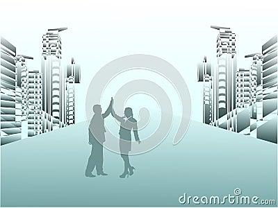 Business couple celebrating success