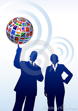 Business Couple with Flags Globe
