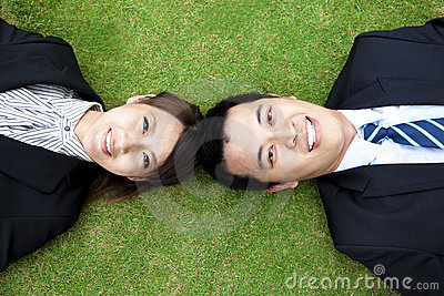 Business couple.happy  businessman and woman